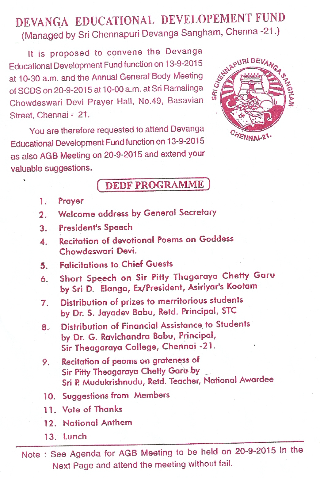 dedf programme for 2015